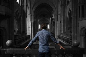 Man standing inside a church